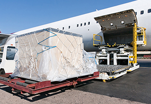 Pallet being loaded onto a plane for an air freight shipment