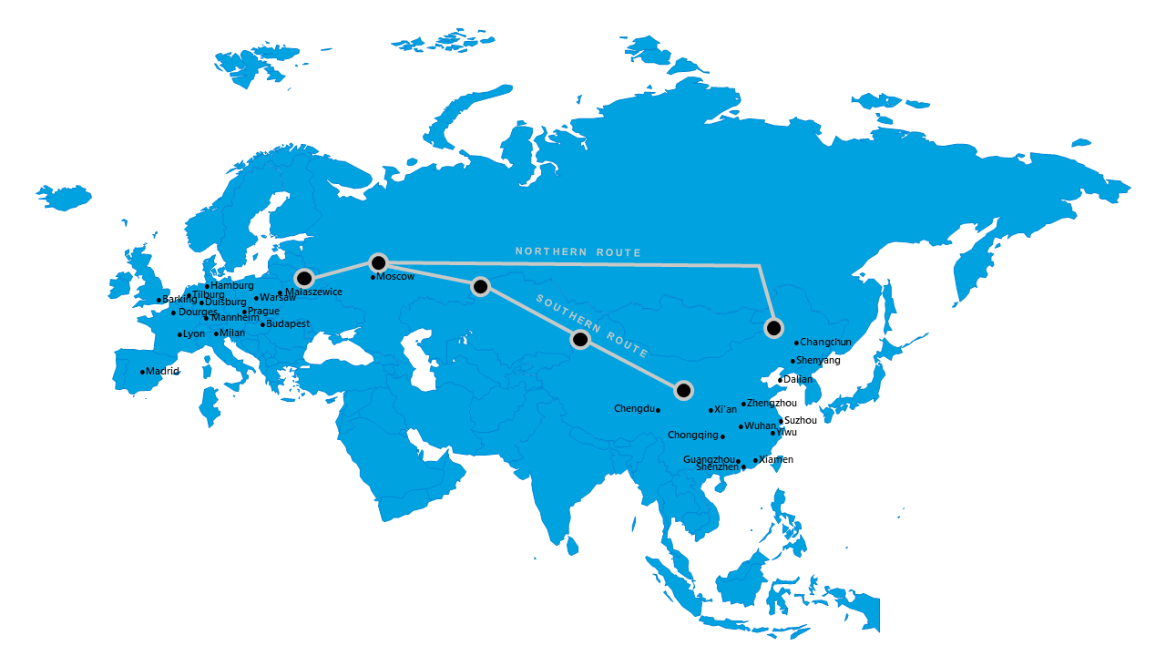 Europe to Asia rail map